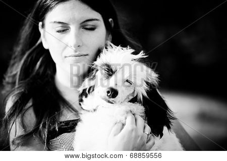 Beautiful Young Woman And Her Chinese Crested Dog Outdoors