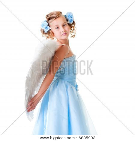 Small Angel In Blue Dress