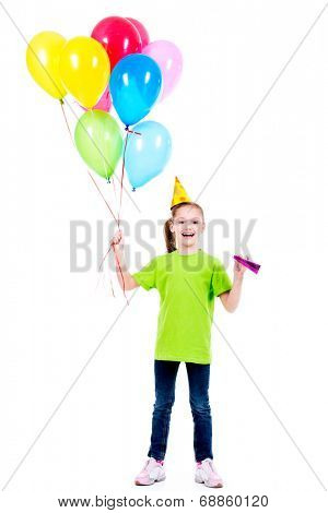 Portrait of happy smiling girl in green t-shirt holding colorful balloons - isolated on a white.