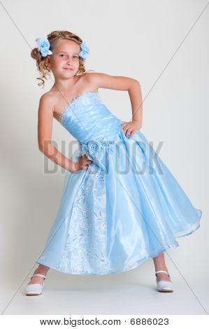 Small Pretty Model In Blue Dress