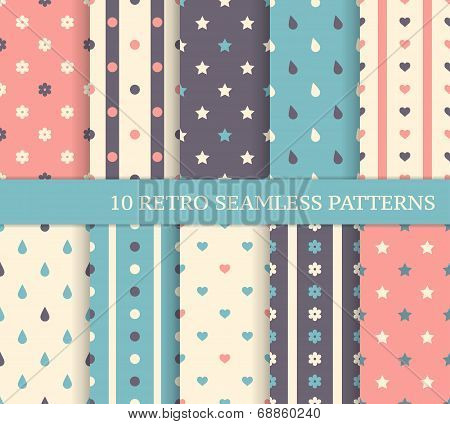 10 Retro Different Seamless Patterns. Polka Dots And Stripes.