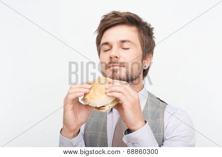 man having a snack