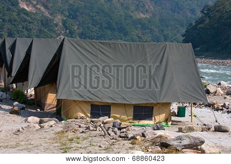 Camp On The Ganges River. India.