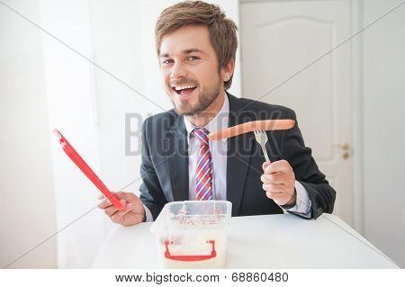 man having a snack