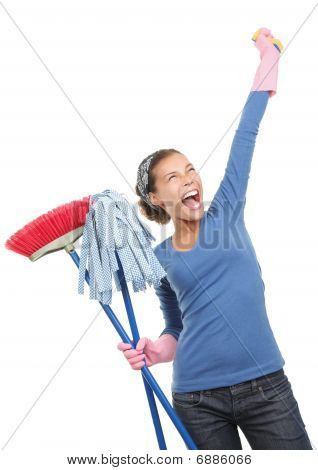 Happy House Cleaning Woman