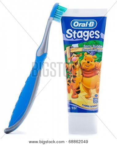 Ankara, Turkey - May 28, 2013: Studio shot of Oral B toothpaste and Toothbrush