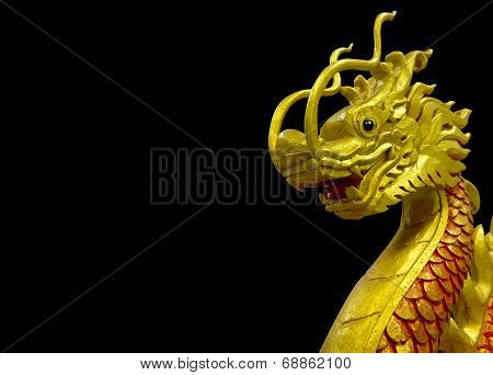 Golden Chinese Dragon On Black Background