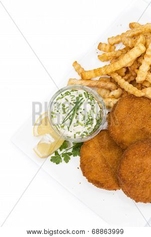 Fishburgers With Chips On White Background