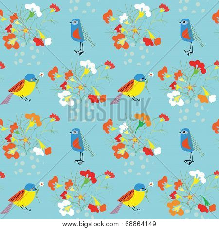Whimsical floral background with birds for holidays