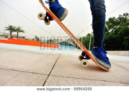 skateboarding jump at skatepark