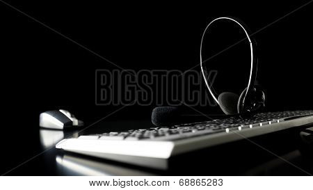 Headset On A Computer Keyboard