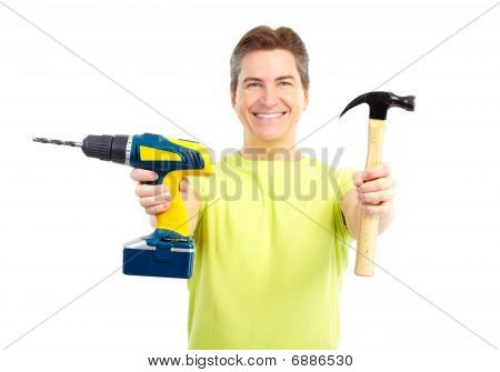 Man With Hammer And Drill