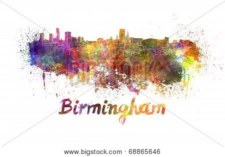 Birmingham Skyline In Watercolor