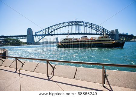 Manly Ferry And Sydney Harbour Bridge