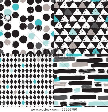 Seamless geometric tribal triangle diamond hand drawn background pattern in vector
