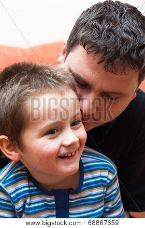 Happy Child Boy With Daddy