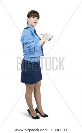 Woman In Uniform  Writing On Her Notepad Over White