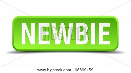Newbie Green 3D Realistic Square Isolated Button