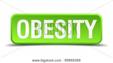 Obesity Green 3D Realistic Square Isolated Button