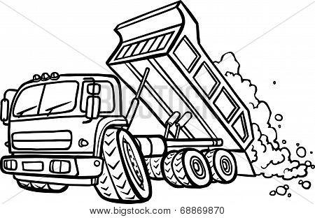 Cartoon Tipper Truck. Border