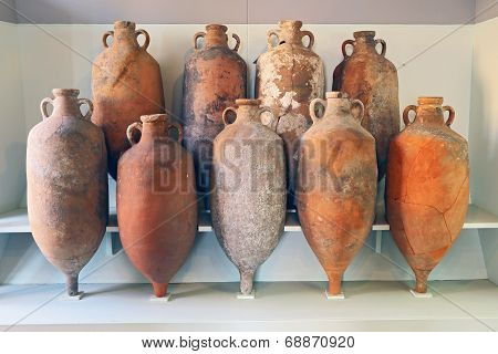 A Group Of Amphora Recovered From The Sea In Tuscany