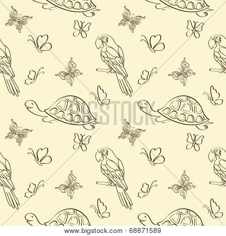 Seamless pattern, animals contours