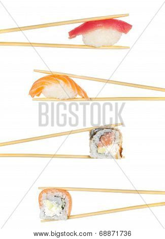 Sushi Roll And Nigiri Sushi Roll In Chopsticks Isolated On White Background