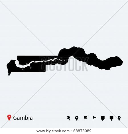 High detailed vector map of Gambia with navigation pins.