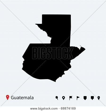 High detailed vector map of Guatemala with navigation pins.