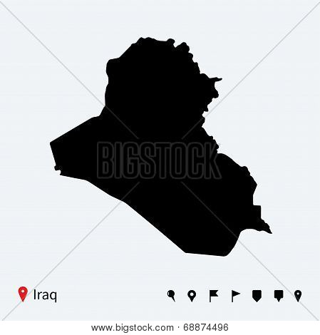High detailed vector map of Iraq with navigation pins.