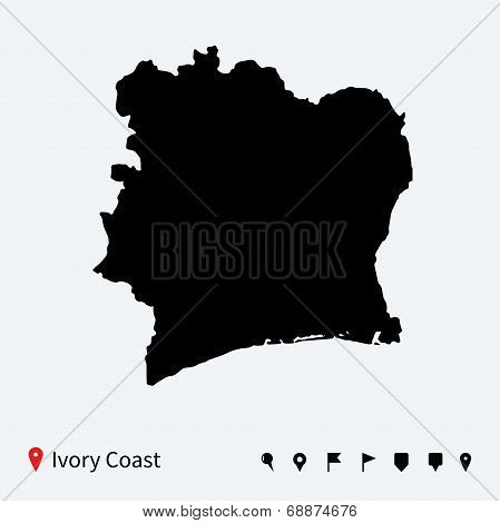 High detailed vector map of Ivory Coast with navigation pins.