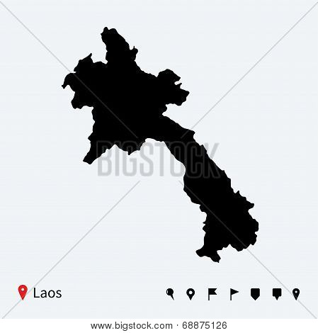 High detailed vector map of Laos with navigation pins.