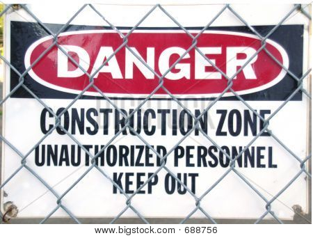 DANGER, CONSTRUCTION ZONE Sign