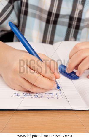 Anonymous Pupil Hand Writing Homework