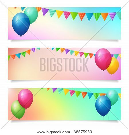 Set Of Birthday Summer Blurred Vector Banner Background