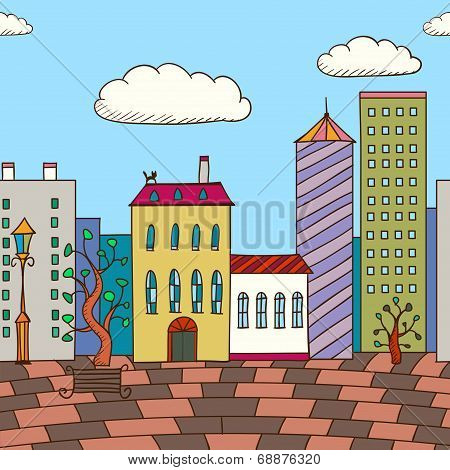 Vector Illustration Of Painted Varicolored Houses And Planking Road. Abstract Background.