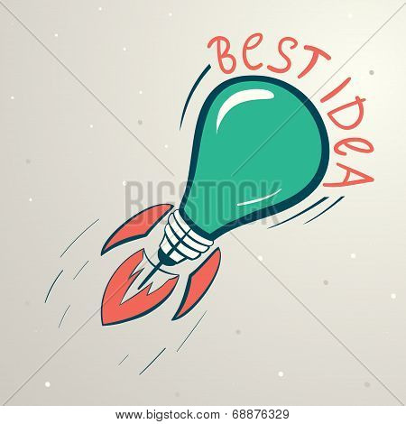 Abstract Vector Colorful Illustration Of Lightbulb. Idea Symbol.