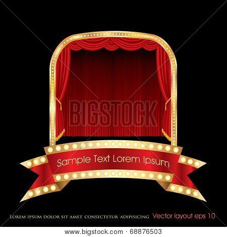 vector red bulb banner on stage with red curtain