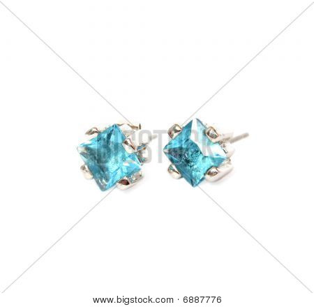 Ear-Rings With Blue Gem