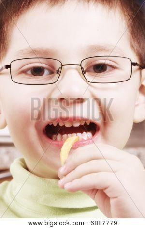 Boy Going To Eat Fried Potato