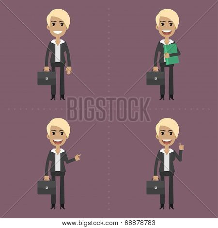 Businesswoman with briefcase in different poses