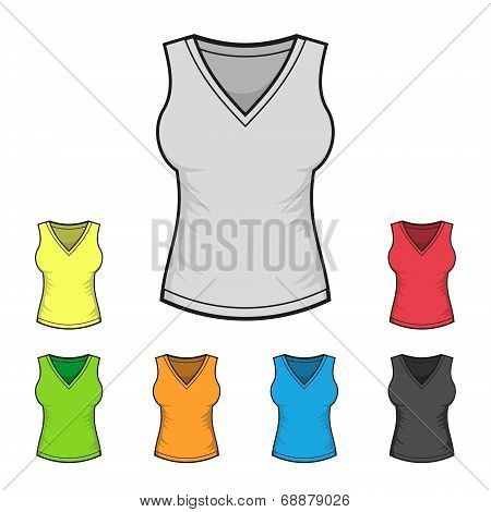 Women's V-neck Shirt Design Template Color Set. Vector