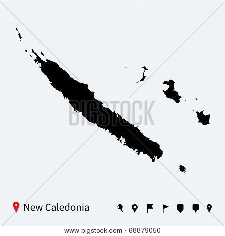 High detailed vector map of New Caledonia with navigation pins.