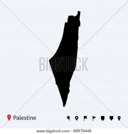 High detailed vector map of Palestine with navigation pins.