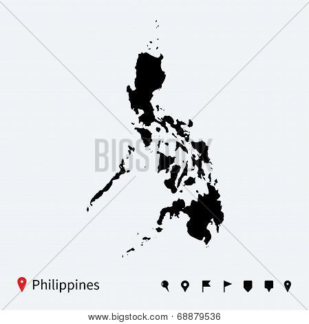 High detailed vector map of Philippines with navigation pins.