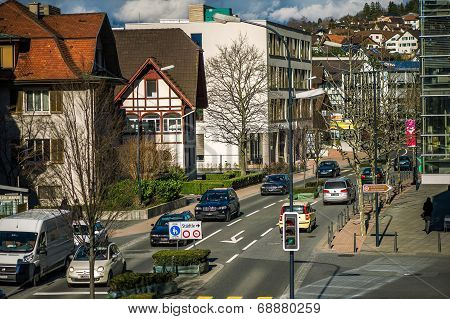 Roadway In Vaduz, Principality Liechtenstein