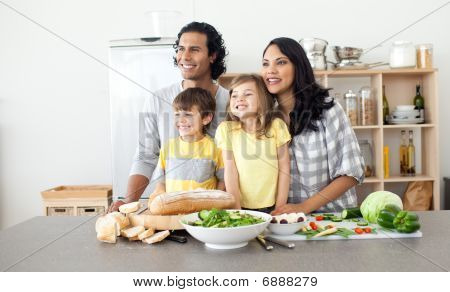 Merry Family Having Fun In The Kitchen
