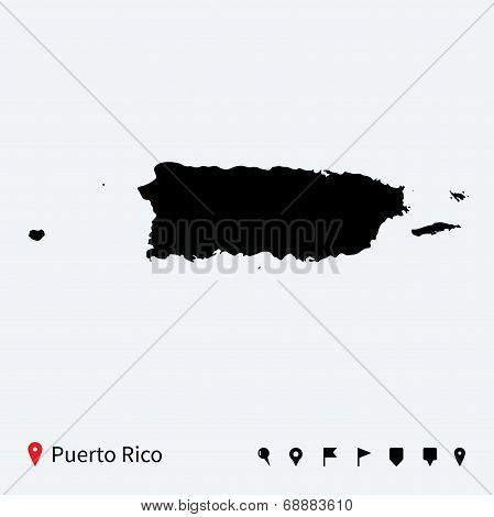 High detailed vector map of Puerto Rico with navigation pins.