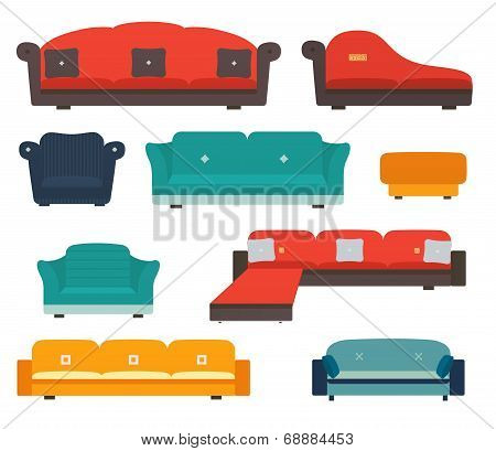 Armchairs And Sofas Flat Style