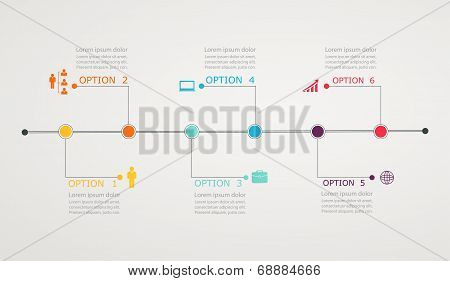 Timeline Infographic With Business Icons, Step By Step  Horizontal Structure